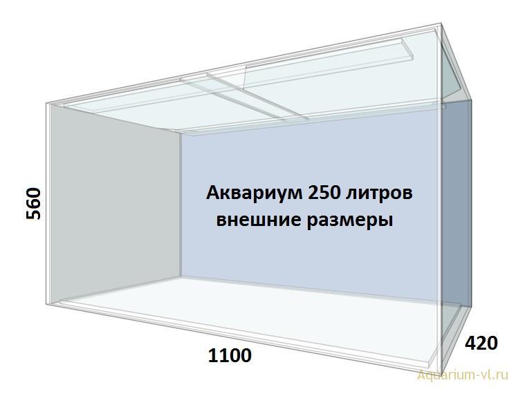 Внешние размеры аквариума 250 литров