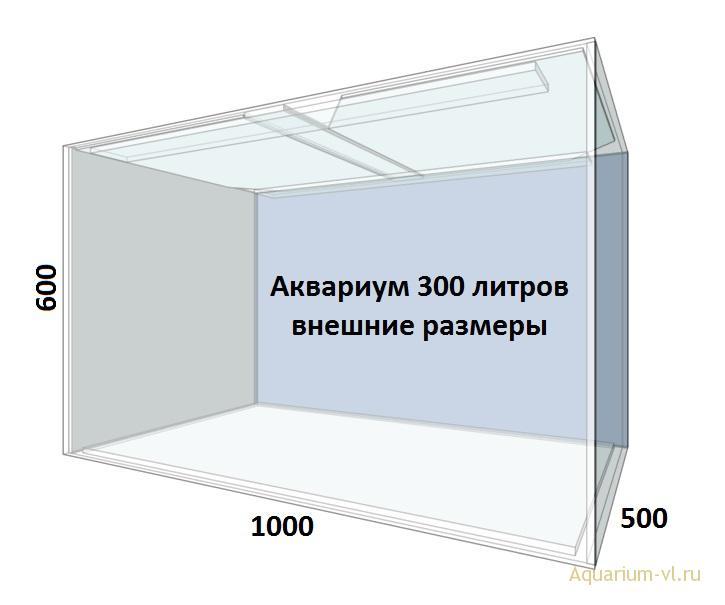 Внешние размеры аквариума 300 литров