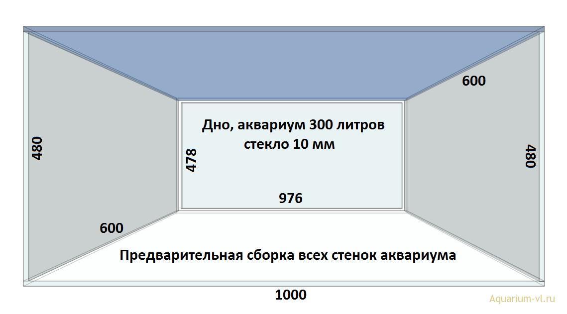 Дно размеры, аквариум 300 литров