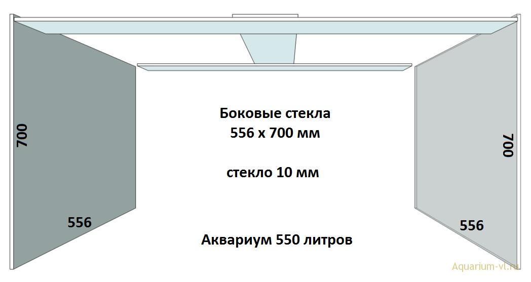 Боковые стекла, аквариум 550 литров