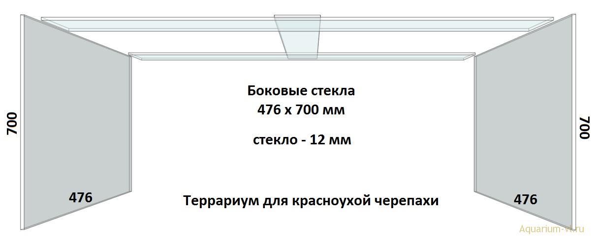 Боковые стекла, террариум 600 л