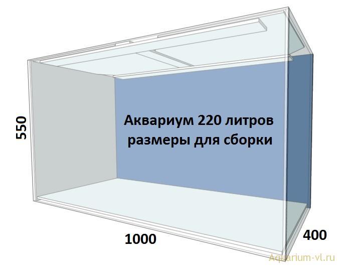 Внешние размеры аквариума 220 литров