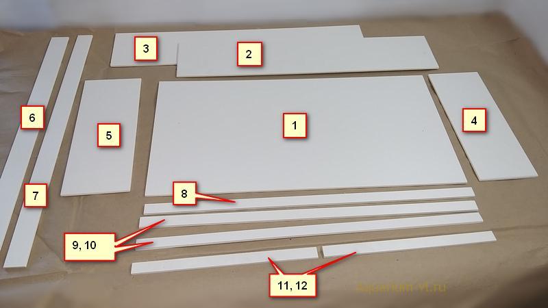 Размеры деталей для крышки