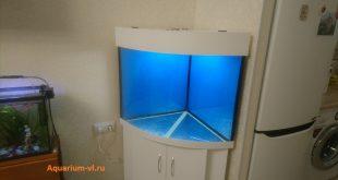 Угловой аквариум 200 литров с тумбой