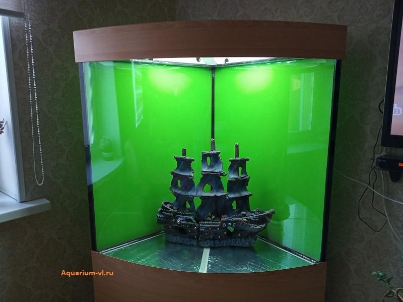 оформление углового аквариума 350 литров